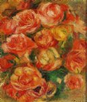 rose paintings - a bowlful of roses by pierre auguste renoir