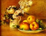 flower paintings - apples and flowers (les pommes et fleurs) by pierre auguste renoir