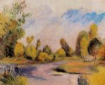 pierre auguste renoir banks of a river painting
