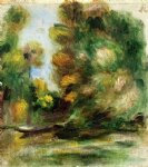 pierre auguste renoir banks of the river a boat painting