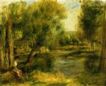 pierre auguste renoir banks of the river ii painting