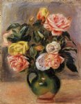 rose paintings - bouquet of roses iii by pierre auguste renoir
