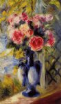 rose paintings - bouquet of roses in a blue vase by pierre auguste renoir