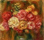 rose paintings - bouquet of roses in a green vase ii by pierre auguste renoir