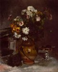 pierre auguste renoir flowers in a vase and a glass of champagne painting 26151