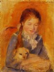 dog oil paintings - girl with a dog by pierre auguste renoir