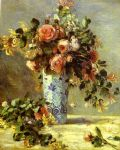 roses and jasmin in a delft vase by pierre auguste renoir painting