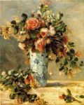 roses and jasmine in a delft vase by pierre auguste renoir painting