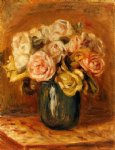 roses in a blue vase ii by pierre auguste renoir painting