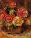 rose paintings - roses in a vase 2 by pierre auguste renoir