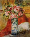 rose paintings - roses in a vase 4 by pierre auguste renoir