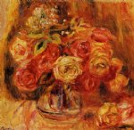 rose paintings - roses in a vase 6 by pierre auguste renoir