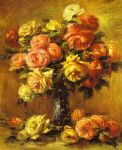 rose paintings - roses in a vase by pierre auguste renoir
