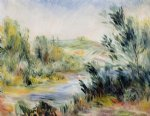 pierre auguste renoir the banks of a river rower in a boat painting