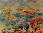 beach paintings - the beach at guernsey by pierre auguste renoir