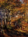 dog oil paintings - the painter jules le coeur walking his dogs in the forest of fontainebleau by pierre auguste renoir