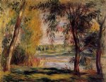 trees by the water by pierre auguste renoir painting