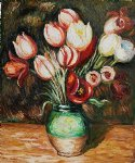 tulips in a vase by pierre auguste renoir painting