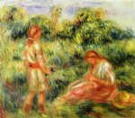 pierre auguste renoir two young women in a landscape painting 26464