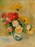 pierre auguste renoir vase of roses and dahlias painting 26477