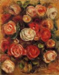 rose paintings - vase of roses ii by pierre auguste renoir