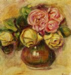 rose paintings - vase of roses iv by pierre auguste renoir
