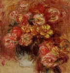rose paintings - vase of roses by pierre auguste renoir