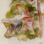 woman and child in a garden sketch by pierre auguste renoir painting