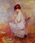 woman in a chemise by pierre auguste renoir painting