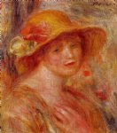 woman in a straw hat iii by pierre auguste renoir painting