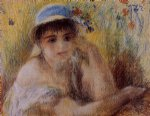 woman in a straw hat by pierre auguste renoir painting