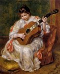 pierre auguste renoir woman playing the guitar painting-26543