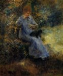 dog oil paintings - woman with a black dog by pierre auguste renoir