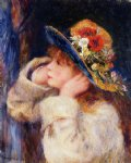pierre auguste renoir young girl in a hat decorated with wildflowers prints
