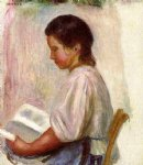pierre auguste renoir young girl reading ii painting