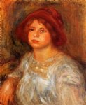 young girl wearing a red hat by pierre auguste renoir painting-26599