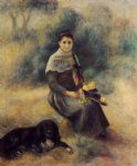 dog oil paintings - young girl with a dog by pierre auguste renoir