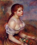 young girl with daisies by pierre auguste renoir painting-26602