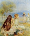young girls by the sea ii by pierre auguste renoir painting-26608