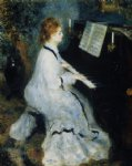 young woman at the piano by pierre auguste renoir painting