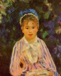 young woman in a blue and pink striped shirt by pierre auguste renoir painting