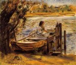 young woman in a boat by pierre auguste renoir painting