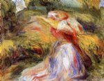 young woman in a hat ii by pierre auguste renoir painting
