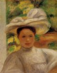 young woman in a hat by pierre auguste renoir painting