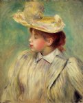 young woman in a straw hat ii by pierre auguste renoir painting