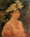 pierre auguste renoir young woman wearing a hat with wild roses prints