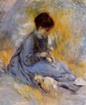 dog oil paintings - young woman with a dog by pierre auguste renoir