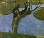 irrigation ditch with mature willow by piet mondrian painting