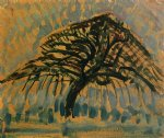 study for blue apple tree series by piet mondrian painting