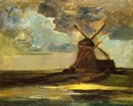 windmill in the gein by piet mondrian painting